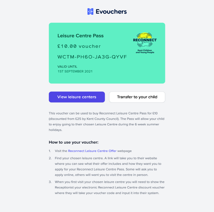 An example showing what the discount voucher pass will look like